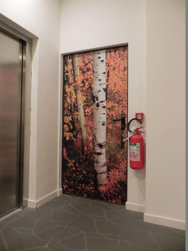 Porte decorate motivo betulla stampe digitali studio 3a trento - Porte decorate adesivi ...